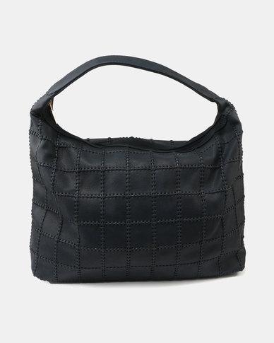 Queue Leather Like Hobo Bag Navy