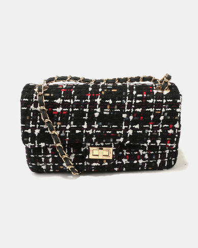 Queue Fabric Baguette Bag Black Multi