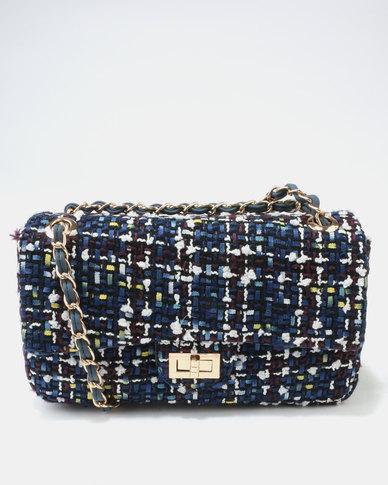 Queue Fabric Baguette Bag Blue Multi