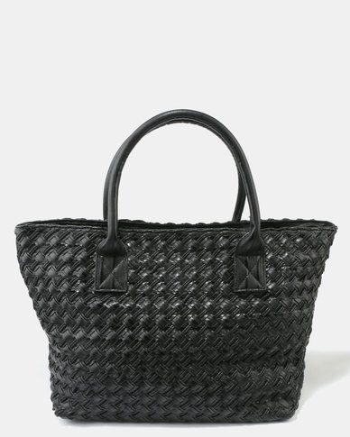 Queue Woven Shopper Bag Black
