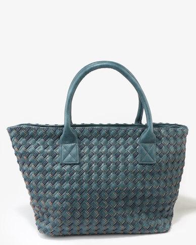 Queue Woven Shopper Bag Teal