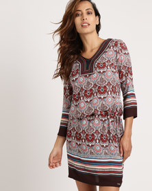 G Couture Multi Print Tunic Brown