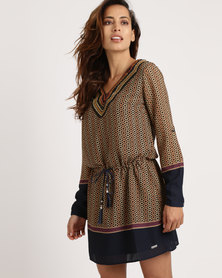 G Couture Printed Tunic With Beads Multi