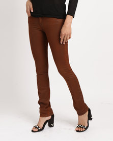 G Couture Coated Jeans Rust