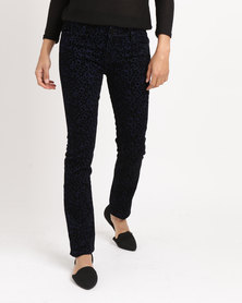 G Couture Leopard Print Jeans Navy