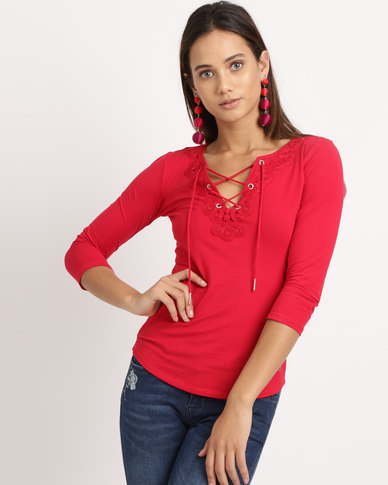 Sissy Boy Crochet & Tie Front Detail Top Red