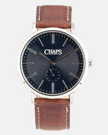 CHAPS Genuine Leather Strap Watch Brown