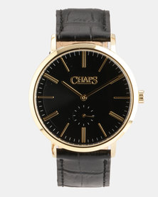 CHAPS Genuine Leather Strap Watch Black