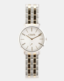 CHAPS Stainless Steel Strap Watch Two Tone Silver