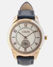 CHAPS Genuine Leather Strap Watch Blue