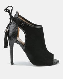 Bronx Women Pelo Peep Toe High Heels Black