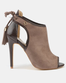Bronx Women Pelo Peep Toe High Heels Taupe
