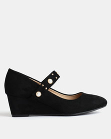 Queenspark Pearl and Microfibre Wedges Black
