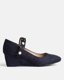 Queenspark Pearl and Microfibre Wedges Navy