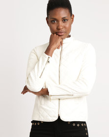 Miss Cassidy Multi Quilted Pleather Woven Jacket Cream