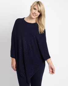 Queenspark Plus New Beaded Poncho Knitwear Navy
