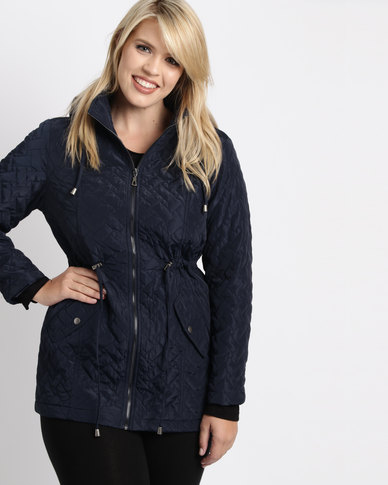 93275018680 Queenspark Plus Drawstring Puffer Woven Jacket Navy