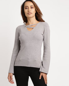 cath.nic By Queenspark Flared Sleeve Knitwear Grey
