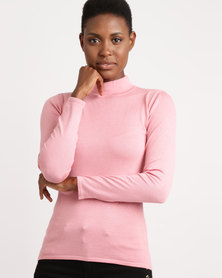 Queenspark Turtleneck Core Jersey Pink