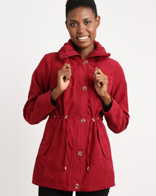 Queenspark Long Sleeve Hooded Suedette Woven Jacket Red