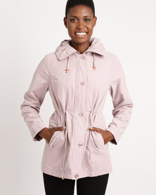 Queenspark Long Sleeve Hooded Suedette Woven Jacket Pink