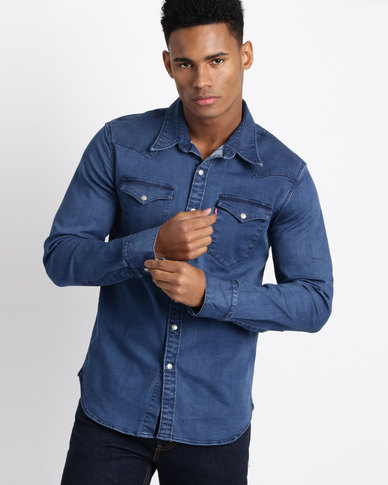 Levi's ® Barstow Western Brooklyn Stretch Shirt Mid Wash Blue