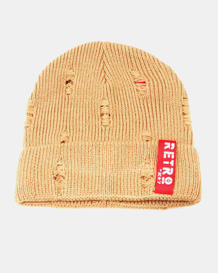 K7Star Retro K7 Distress Beanie Beige 41b2ce09fa7d