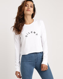Silent Theory Printed Logo Long Sleeve Top White