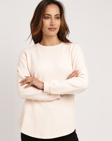Silent Theory Scoop Hem Sweatshirt Peach