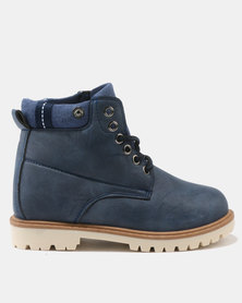AWOL Girls High Top Shoes Navy
