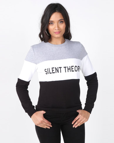 Silent Theory Club Fleece Colourblock Sweatshirt Black