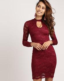 Utopia High Neck Lace Dress Burgundy
