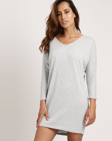Utopia Cut n Sew Tunic Dress Light Grey Melange
