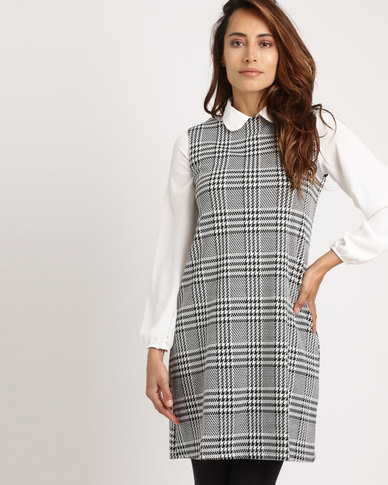 f7b7bce5b4f Utopia Check Pinafore Dress Black White