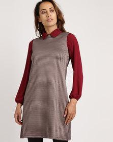 Utopia Check Pinafore Dress Burgundy