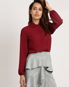 Utopia Georgette Blouse Burgundy
