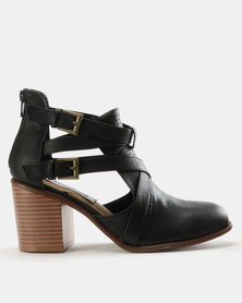 Madison Western Block Heels Cut Out Ankle Boots Black