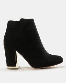 Madison Kylen Metallic Trim Block Heels Ankle Boots Black