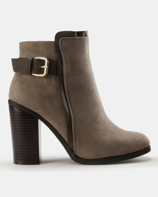 Madison Presey Belt Trim Ankle Boots Grey