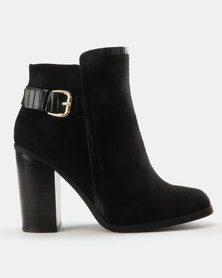 Madison Presey Belt Trim Ankle Boots Black