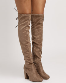 Madison Lula Over The Knee Boots Taupe