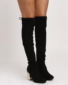 Madison Lula Over The Knee With Metallic Heel Boots Black