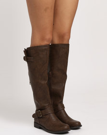Madison Sawyer Long Biker Inspired Boots Brown