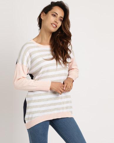 Elm Floss Stripe Jumper Pink & Navy