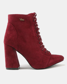 PLUM Block Heel Ankle Boots Burgundy