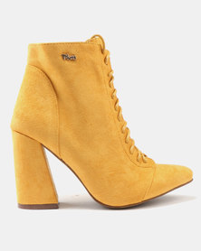 PLUM Block Heel Ankle Boots Mustard