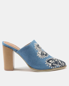 PLUM Dolly Embroidered Mule Blue