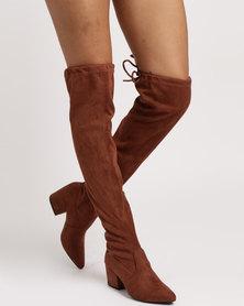 Miss Black Aspen Block OTK Boots Choc