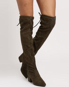 Miss Black Aspen Block OTK Boots Olive