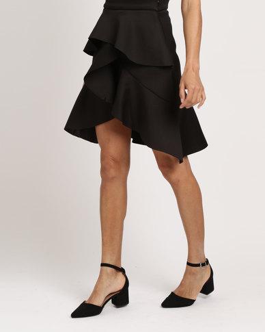 Utopia Ruffle Scuba Skirt Black